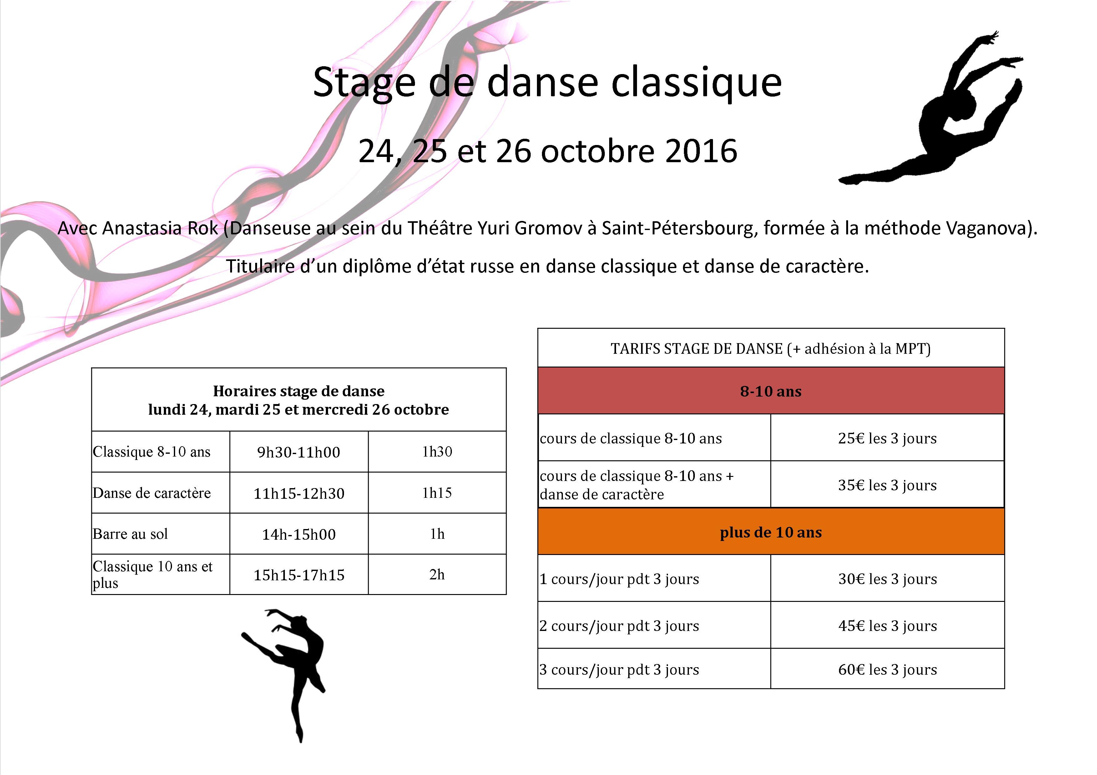 Stage de danse vacances de la toussaintmaison pour tous for Danse classique maison pour tous montpellier