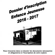 Dossier inscription enfance/jeunesse 2016 2017